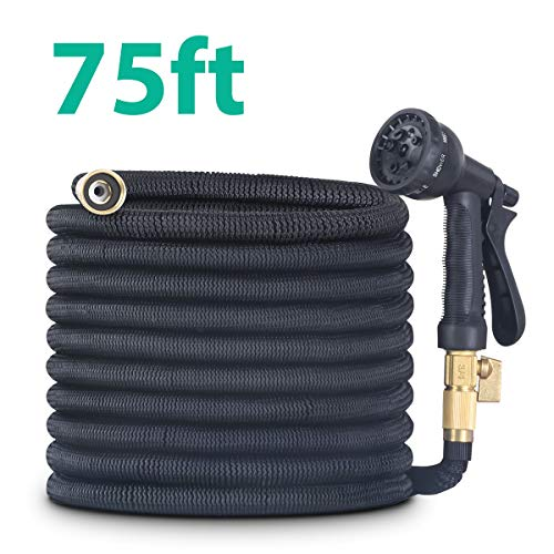 CACAGOO Garden Hose, 75 FT Lightweight Water Hose, 3/4″ Solid Brass Connector, Durable Flexible Hose for Watering, Washing
