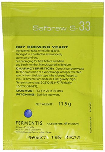 Safbrew S-33 Dry Yeast - 11.5g Belgian Trappist Beers
