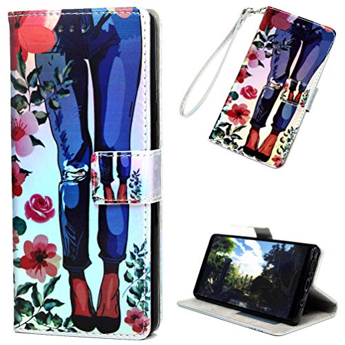 Galaxy Note 9 Case, Note 9 Case, Colorful Painting Wallet Case PU Leather Credit ID Card Bumper Magnetic Flip Protective Skin Shell with Wrist Rope for Samsung Galaxy Note 9 ZSTVIVA - Flower
