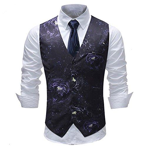 Men's Waistcoat Slim Fit Single Breasted V-Neck Pattern Formal Button Down Vest Black