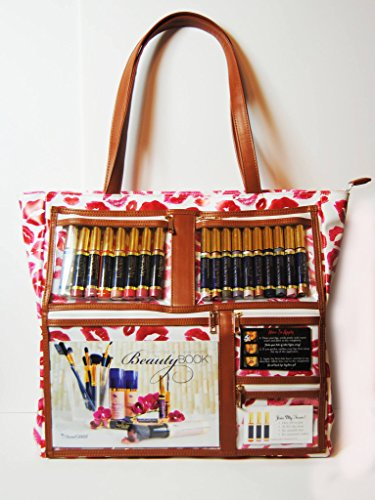 WOW Bag for LipSense | Clear Pockets | Red Lip Print Pattern | Waterproof Vegan Leather | Direct Sales Purse Window (Boutique Purse Bag)