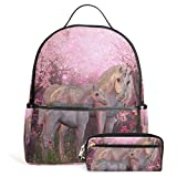 Unicorn Unisex Rucksack Canvas Satchel Casual Daypack ,School College Student Backpack with Pencil Case