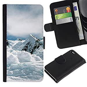 ZONECELL Imagen Frontal Negro Cuero Tarjeta Ranura Trasera Funda Carcasa Diseño Tapa Cover Skin Protectora Case Para Apple Iphone 4 / 4S - naturaleza mountan nieve