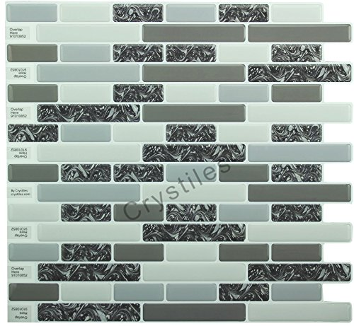 """Crystiles Peel and Stick Self-Adhesive DIY Backsplash Stick-on Vinyl Wall Tiles for Kitchen and Bathroom Décor Projects, Item# 91010852, 10"""" X 10"""" Each, 6 Sheets Pack"""