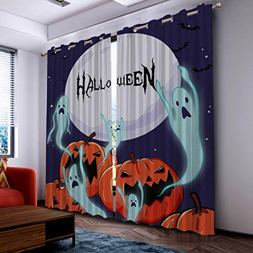 Prime Leader Curtains for Living Room- Darkening Thermal Insulated Window Treatment Curtains, with Grommet Home Decor Halloween Pumpkin Ghost with Moon (2 Panels, 52 x 52 Inch Each Panel) ()