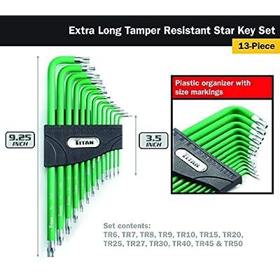 Titan 12715 13-Piece Extra Long Tamper Resistant Star Key Set, Green - Hex Keys - .com
