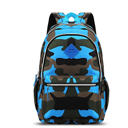 Neonr New School Bags Backpack Fashion Bookbag for Kids Middle School Shoulder Bag for Girls and Boys (Camouflage Blue)
