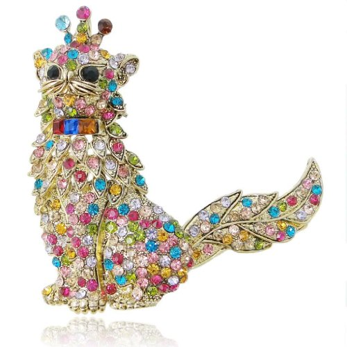 EVER FAITH Austrian Crystal Adorable 3D Kitten Cat with Crown King Brooch Multicolor Gold-Tone