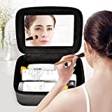 Qookiee Makeup Bag, Quick Cosmetic Cases with Mirror and Jewelry area, Professional Makeup Cases Makeup Artist Train Case Travel Organizer Beauty Case Storage for Makeup Brushes Toiletry Accessories