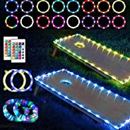 Werfeito 2 Set Cornhole Lights, Remote Control 16 Colors Change LED Cornhole Board Lights, Cornhole Ring Light