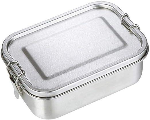ZHQHYQHHX Bento Box Acero Inoxidable Caja de Almuerzo del Metal Grande Caja Bento, Bento Cajas de Almuerzo, Acero Inoxidable Lunchbox envases de alimento con Clips de ...