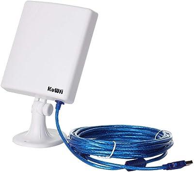 KuWFi Adaptador de Red WiFi al Aire Libre de Largo Alcance, Antena Estable de Alta Resistencia 14dBi Cable 5M Adaptador inalámbrico USB Desde el ...