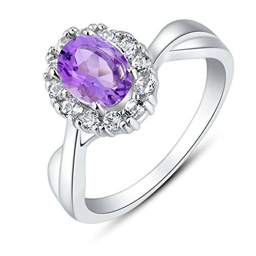 BL Jewelry Sterling Silver Oval Genuine Natural Gemstone Halo Infinity Ring (1 2/5 CT.T.W) (6, amethyst)