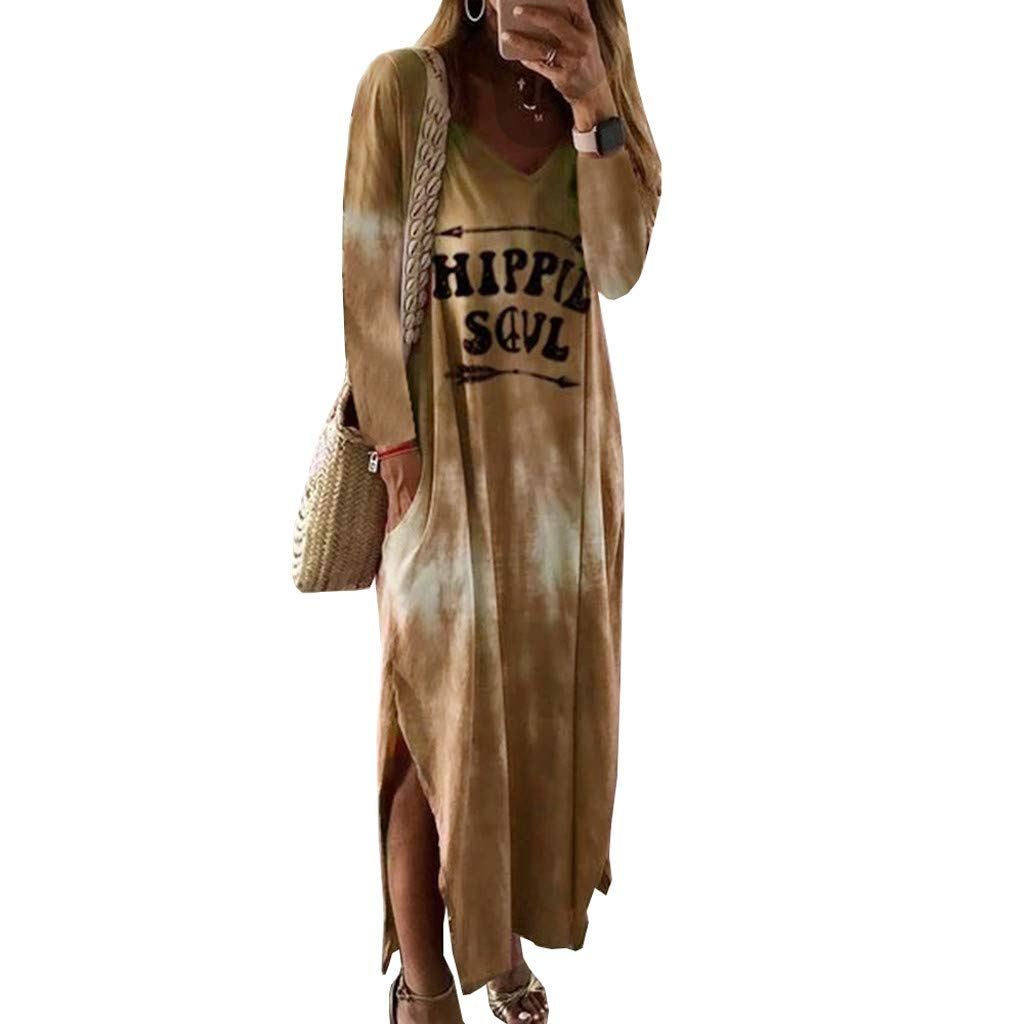 WatFY Women Sundress Long Sleeve Skirts O-Neck Hippie Soul Printed Dress Split Casual Long Maxi Dress Ball Gown(Khaki,XL) by WatFY