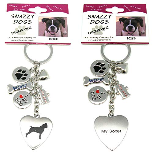Boxer Keychain for Women, Girls, Boys, Men - Engraved Stainless Steel Dog Key Ring with Charms - Cute I Love My Dog Key Fob Gift - Cute Pet Accessories by Frogsac USA (Doberman German Shepherd)