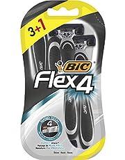 Bic Flex 4 scheerapparaat voor heren, 4 stuks scheerapparaten (3 + 1 bonus) - met smeerstrip en draaibare kop voor een glad, nauwkeurig scheren