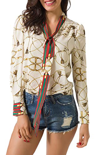 Sviuse Spring Women's Tops Casual V Neck Floral Long Sleeve Stripe Ribbon Printed Decoration Blouses Chiffon Shirts (M, Beige)