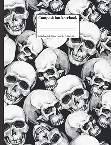 Composition Notebook: Human Skulls Halloween Design Cover 100 College Ruled Lined Pages Size (7.44 x 9.69)]()