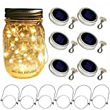 Aobik Solar Mason Jar Lid Lights, 6 Pack 20 Led String Fairy Star Firefly Jar Lids Lights,6 Hangers Included(Jars Not Included), Best for Mason Jar Decor,Patio Garden Decor Solar Laterns Table Lights