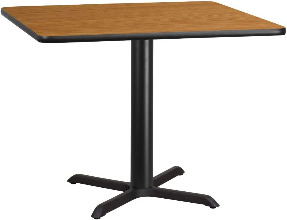 Flash Furniture 42'' Square Natural Laminate Table Top with 33'' x 33'' Table Height Base