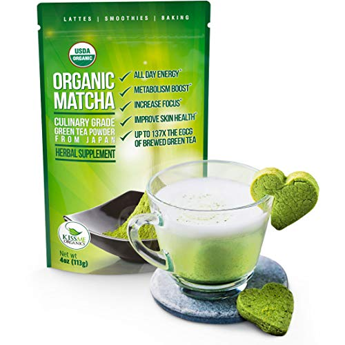 Organic Matcha Green Tea Powder - Japanese Culinary Grade Matcha - 4 oz (113 grams) - Increases Energy and Focus and Naturally Supports Weight Loss - From Kiss Me Organics (Treat Kisses)