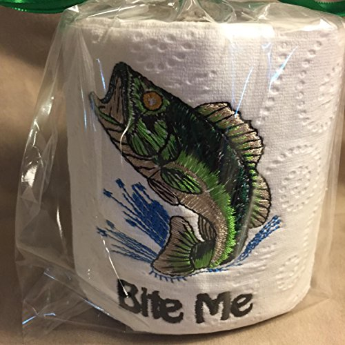 Gag gift - EMBROIDERED TOILET paper BASS FISH BITE ME FISHERMAN TOILET PAPER roll - smoke free - pet free - free ship to USA - Fish Pet Free Gifts