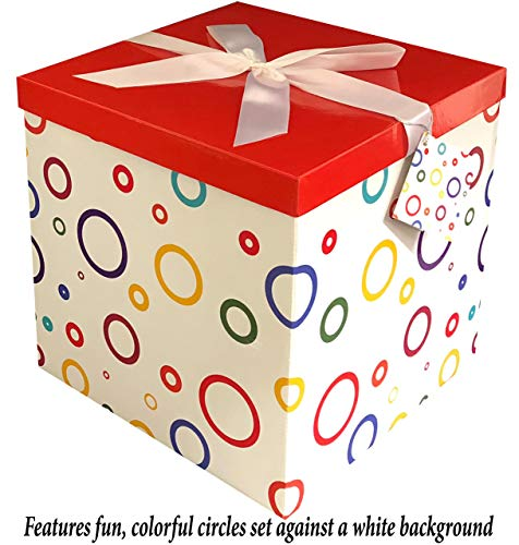 Gift Box 12x12x12 Garnier Pop up in Seconds comes with Decorative Ribbon mounted on the lid A Gift Tag and Tissue Paper - No Glue or Tape Required -