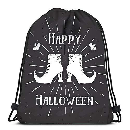 Randell Gym Drawstring Backpack Sport Bag Halloween Vintage Sketch Witch Items Grunge Retro Badge Lightweight Shoulder Bags Travel College Rucksack for Women Men