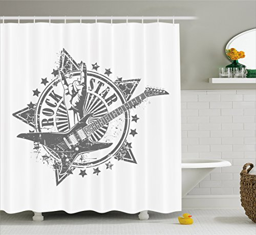 Ambesonne Guitar Shower Curtain, Stars with Rock Sign Monochrome Musical Instrument Design Rockstar Life Singing, Fabric Bathroom Decor Set with Hooks, 70 inches, Pale Grey White (Rock Star Shower Curtain)