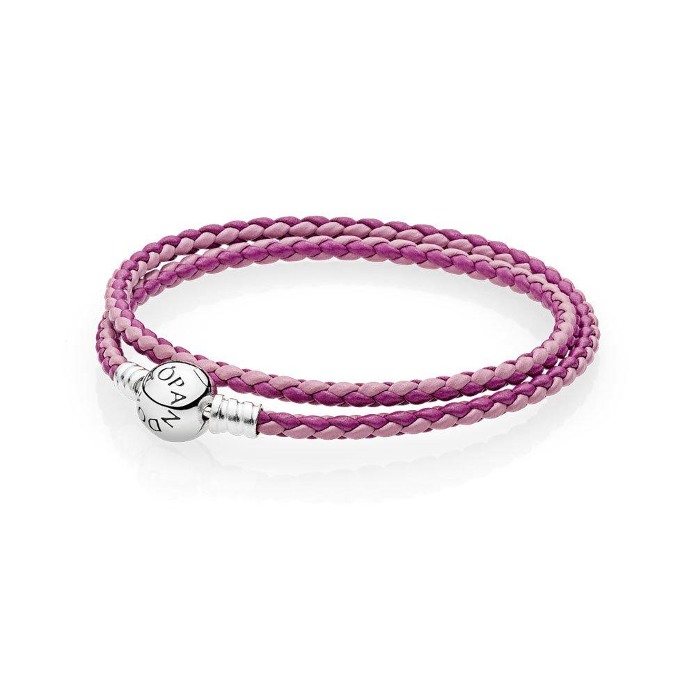 PANDORA - Double braided leather bracelet Honeysuckle Rose round silver clasp 925/1000 PANDORA 590734CHP-D - 38 590747CPMX-D2