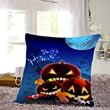 Cotton Linen Square Decorative Throw Pillow Case Personalized Cushion Cover Halloween Gifts Ghost Bats Pumpkin and Owls Trick or Treat By WuyiMC(A-P) (K)