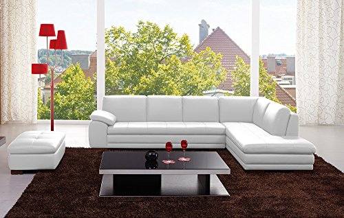 625 Italian Leather Sectional White in Right Hand Facing