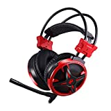 AUSDOM AGH2 Stereo USB Gaming Headset 7.1 Virtual Surround Sound for PC Computer Games, Noise Isolating Mic, Breathing LED, Comfort Over-Ear Professional Music Headphones with Low Bass Vibration, Red