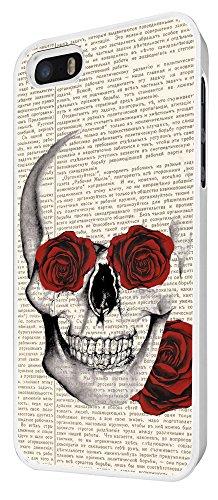 572 - Funky Sugar Skull vintage News paper flower Rose eyes Design iphone 4 4S Coque Fashion Trend Case Coque Protection Cover plastique et métal - Blanc