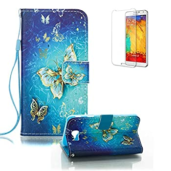 Galaxy J7 Prime Case with Free Screen Protector.Funyye Stylish Lanyard Magnetic Detachable PU Leather Wallet Practical Full Body Protective Case Cover for Galaxy J7 Prime-Blue Gold Butterflies