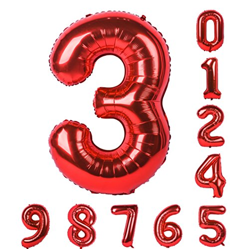 Red Numbers Balloon Birthday Party 40 inch 0-9(Zero-Nine) Mylar Decorations of Arabic Numerals 3