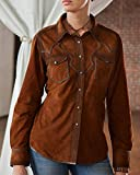 Ryan Michael Women's Acorn Santa Fe Leather Shirt Brown Medium