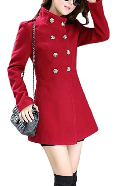 d8113d8de2d Amazon.com  Jofemuho Women s Mid Length Double Breasted Winter Solid Trench Pea  Coat Outerwear  Clothing
