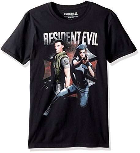 American Classics Unisex Resident Evil Chris and Jill Adult Short Sleeve T-Shirt, Black, XXLarge