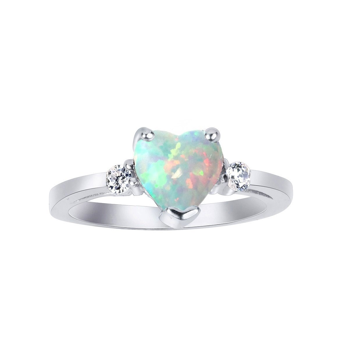 CloseoutWarehouse White Simulated Opal Cubic Zirconia Heart Ring Sterling Silver Size 5