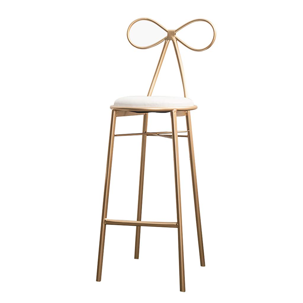 65cm Barstool Breakfast High Chair with gold Metal Legs for Kitchen Pub Stool, Simple Modern Iron Art Design, Seat Height 65   75cm