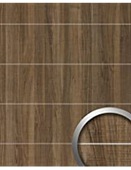 Wall Panel Wood Look WallFace 19100 NUTWOOD COUNTRY 8L Walnut Wood Decor Brushed Metal Strips Self Adhesive Wall Panelling Brown 28 Sq Ft 2 60 Sqm