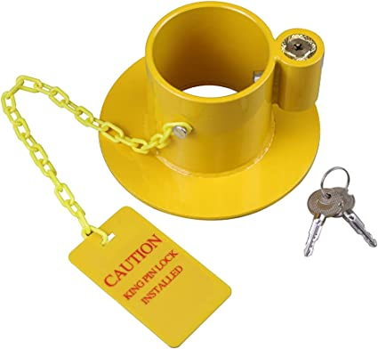 OKLEAD Cerradura antirrobo 5Th Kingpin RV Quinta Rueda Remolque Cerradura de Seguridad King Pin Lock con Brillante Amarillo Etiqueta de precauci/ón 2 Llaves