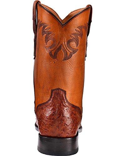 El Dorado Hommes Pleine Plume Autruche Bottes Roper - Bout Rond Cognac 10,5 Ee
