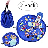 LATIBELL 2 Pack Toy Storage Mat Bag for Baby Kids Playing Toys, Organizer Quick Pouch, Playmat Container for Storing Every Size Toy -Turns into a Simple Shoulder Bag, Portable Sturdy Travel Bag