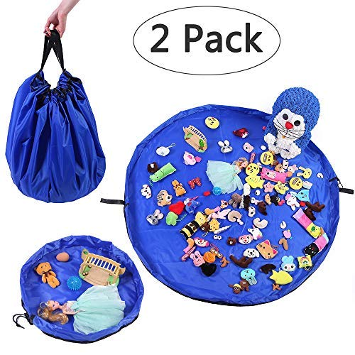 LATIBELL 2 Pack Toy Storage Mat Bag for Baby Kids Playing Toys, Organizer Quick Pouch, Playmat Container for Storing Every Size Toy -Turns into a Simple Shoulder Bag, Portable Sturdy ()