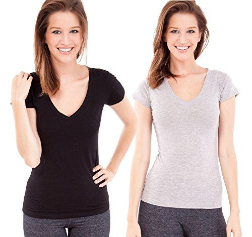 ladies-plain-short-sleeve-t-shirt-round-v-neck-cotton-spandex-multiple-colors-2-pack