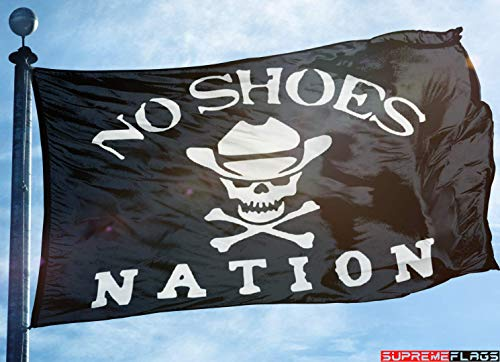 - No Shoes Nation Flag Banner 3x5 Kenny Chesney Garage Black Skull Bone Cowboy