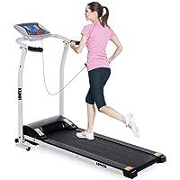 Lontek Elektrisches, klappbares Laufband, motorisiert, für den Heimgebrauch, Laufen und schnelles Gehen, mit Herzfrequenz-Sensor, 12,7 cm großer LCD-Bildschirm, 1,5 PS, Gleichstrom-Motor