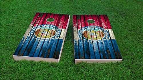 - Missouri Distressed State Flag Cornhole Set, 2x4, 1x4 Frame (25% Lighter), Wood, Hand Painted, All Weather Bags